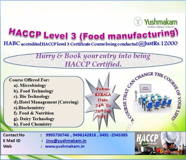 Haccp Food Safety Training Level 3palakkadmannarkkadkerala Education